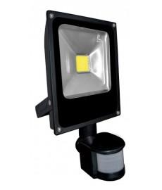Naświetlacz LED 20W płaski czarny z czuj. ruchu