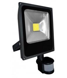 Naświetlacz LED 30W płaski czarny z czuj. ruchu
