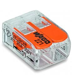 Szybkozłączka 2x0,2-4mm2 transparentna / pomarańczowa 221-412 WAGO