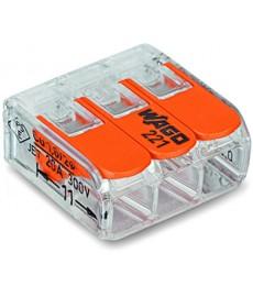 Szybkozłączka 3x0,2-4mm2 transparentna / pomarańczowa 221-413 WAGO