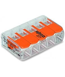 Szybkozłączka 5x0,2-4mm2 transparentna / pomarańczowa 221-415 WAGO